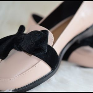 NEW Pink with black bow ASOS women's loafers
